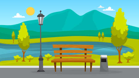 City park landscape. Green grass, bench and trees. Summer scenery with blue sky. Walkway in park. Vector illustration in cartoon style Illustration