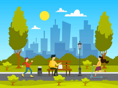 People in the public park. Relaxing and playing in the city park. Summer activity. Vector illustration in cartoon style