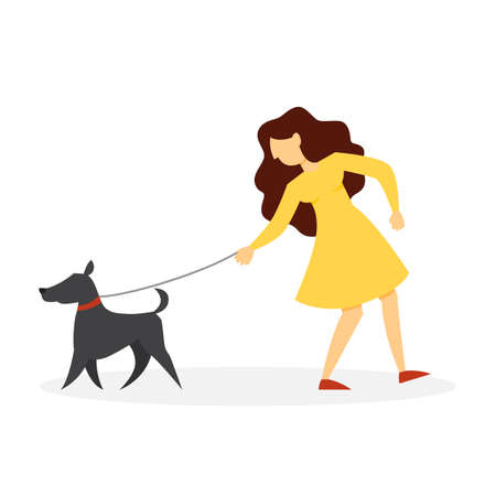 Woman walking a pet dog. Girl with puppy Illustration