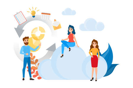Cloud storage concept. Idea of database and server. Digital technology. Isolated vector flat illustration