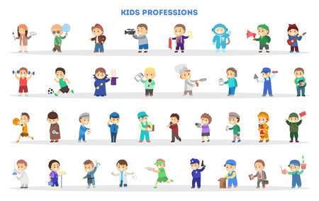 Children play as different worker set. Collection of kids in various suit. Waiter, police, businessman occupation. Scientist uniform. Isolated flat vector illustration
