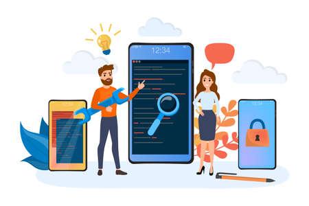 App development web banner. Support and development team. Modern technology and smartphone. Isolated flat vector illustration Çizim