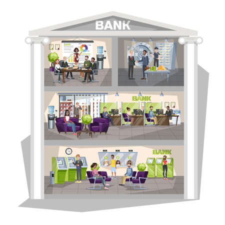 Bank office interior. People make financial operations. Currency exchange, ATM operation and consulting. Security at the safe. Vector illustration in cartoon style