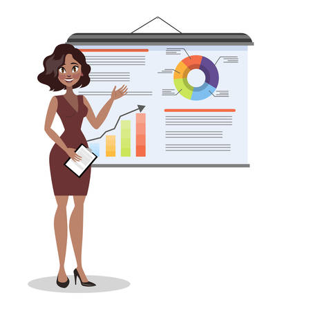 Woman making business presentation. Presenting business plan on seminar. Vector illustration in cartoon style  イラスト・ベクター素材