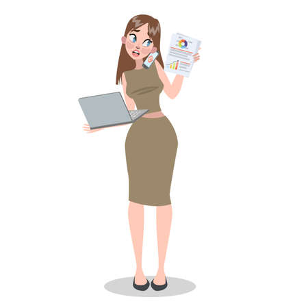 Busy woman doing may things at once. Talking on the phone, working on laptop. Stressful situation. Sad woman. Vector illustration in cartoon style Vektorové ilustrace