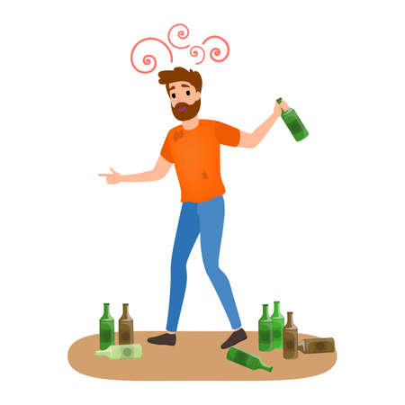 Drunk man with alcohol addiction with bottle of beer. Male character addict to unhealthy habit. Vector flat illustration