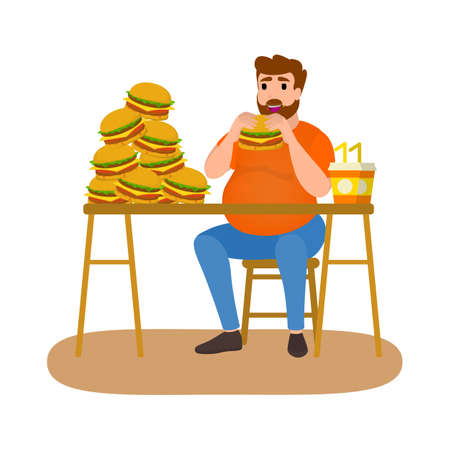 Fat man eating fast food. Unhealthy nutrition concept. Burger and french fries for dinner. Junk food addiction. Isolated flat vector illustration
