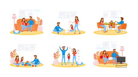 Couple on different activity set. Father, mother and child spend time together, watching TV and play with cat. Young family at home. Isolated flat vector illustration