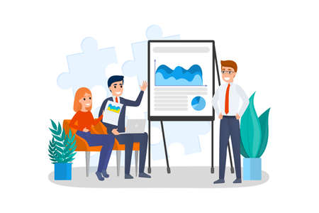 Man making business presentation in front of group of people. Presenting business plan on seminar. Training and education. Flat vector illustration