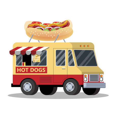 Hot dog truck. Van with tasty snack. Fast food transportation. Delicious junk food. Vector illustration in cartoon style