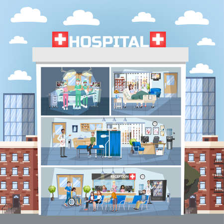 Hospital building interior. Doctor office and surgery room, reception. Medical clinic indoor. Doctor and patient. Woman in wheelchair. Vector illustration in cartoon style