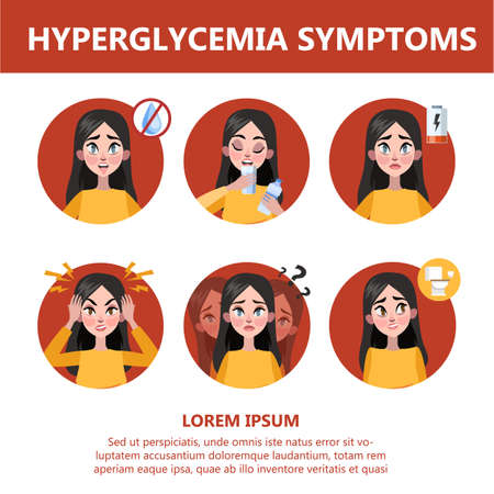 Hyperglycemia symptoms and signs. Blurred vision, dizziness, headache and thirst. Idea of disease treatment and healthcare. Vector illustration in cartoon style