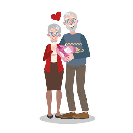 Senior couple on valentine day. Romantic holiday celebration. Old people in love. Vector illustration in cartoon style