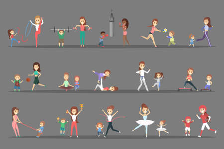 Set of sports people with their children. Parents doing different kind of sport - play basketball, boxing, running and winning the competition. Gymnastics and ballet. Flat vector illustration 일러스트