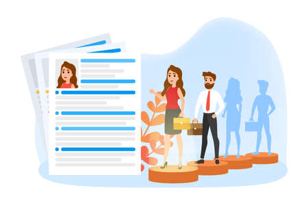 Recruitment web banner. Idea of HR and employment. Hiring and searching employee. Isolated flat vector illustration Ilustração