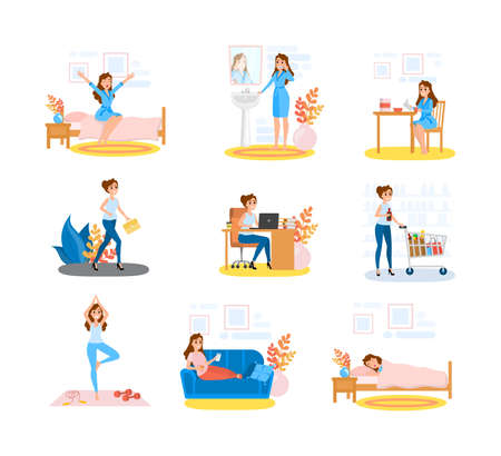 Woman daily routine set. Female character doing different activity during the day. Girl lifestyle. Breakfast and office work, relaxation and bed time. Isolated vector illustration in cartoon style