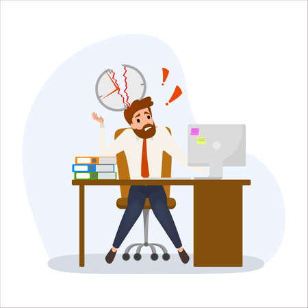 Deadline concept set. Idea of many work and few time. Employee in a hurry. Panic and stress in office. Business problems. Flat vector illustration Ilustração