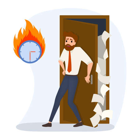 Deadline concept set. Idea of many work and few time. Employee in a hurry. Panic and stress in office. Business problems. Flat vector illustration Ilustrace