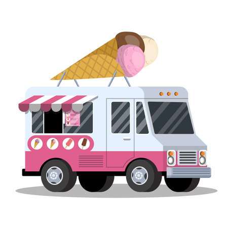 Ice cream truck. Van with sweet food. Delicious dessert transportation. Vector illustration in cartoon style