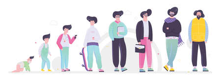 Human generation set. Collection of people of different age from baby to elderly. Aging process. Isolated vector illustration in cartoon style Ilustracja