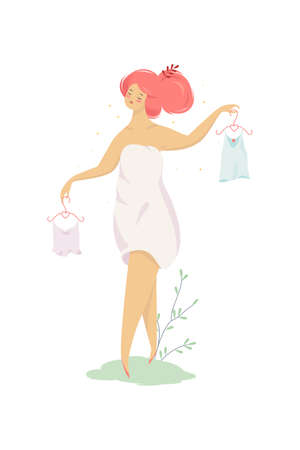 Woman choose clothes. Girl holding hanger with shirt. Beauty and elegance. Isolated vector illustration in cartoon style