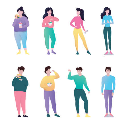 From fat to slim. Idea of weight loss and healthy lifestyle. Woman and man with obesity become fit. Sport and healthy eating. Isolated vector illustration in cartoon style Illustration