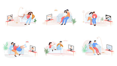 Couple watch various TV show set. People sitting on the couch and rest. Spending time together. Isolated vector illustration in cartoon style