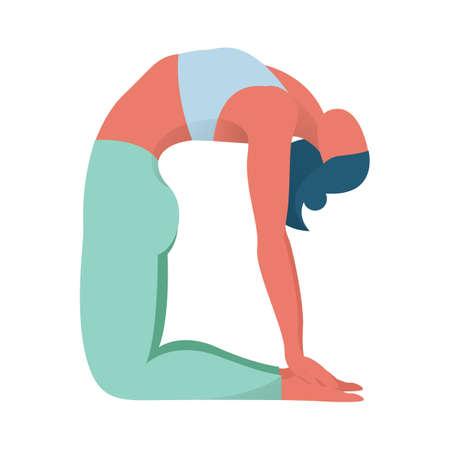 Postura del camello de yoga. Ejercicio para la salud corporal. Mujer en posición de yoga. Entrenamiento de flexibilidad. Ilustración de vector aislado en estilo de dibujos animados