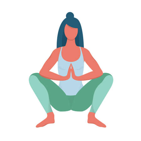 Malasana pose. Woman doing exercise for body health. Garland position in yoga. Isolated vector illustration in cartoon style