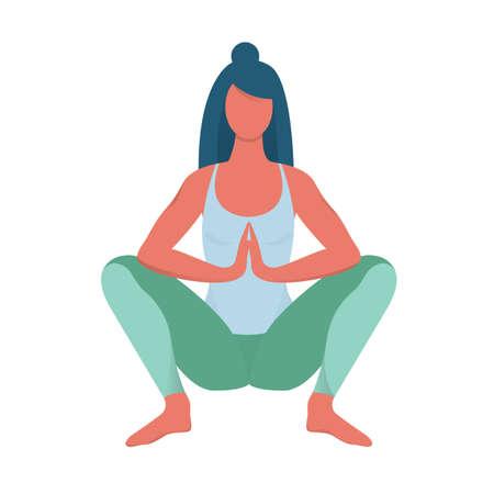 Postura de Malasana. Mujer haciendo ejercicio para la salud corporal. Posición de la guirnalda en yoga. Ilustración de vector aislado en estilo de dibujos animados