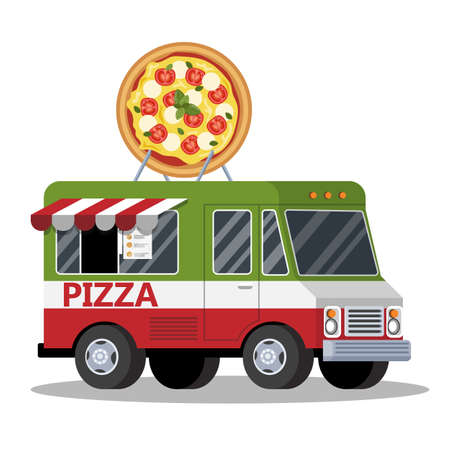 Street food truck. Tasty pizza from the van. Fast food for lunch. Vector illustration in cartoon style Illustration