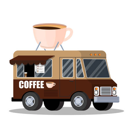 Street truck with coffee. Hot tasty beverage from the van. Takeaway espresso or latte. Vector illustration in cartoon style