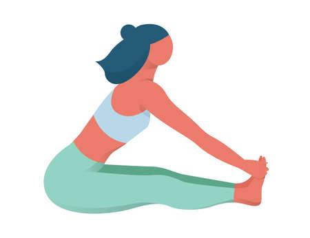 운동 후 앉아서 스트레칭하는 여자. 활동적이고 건강한 생활 방식에 대한 아이디어. 체육관에서 피트니스와 요가. 벡터 평면 그림