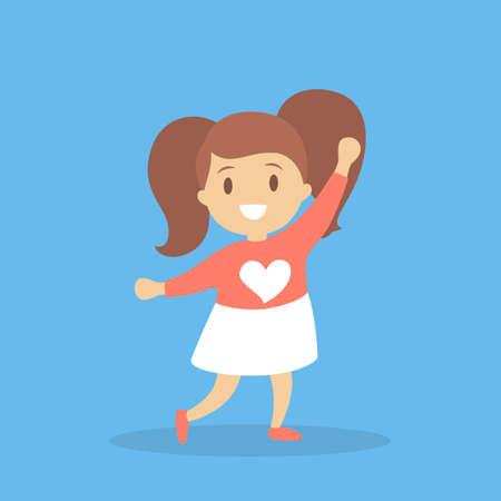 Girl in red and white clothes dance. Kid dancing in various style. Childish activity. Flat vector illustration Ilustrace