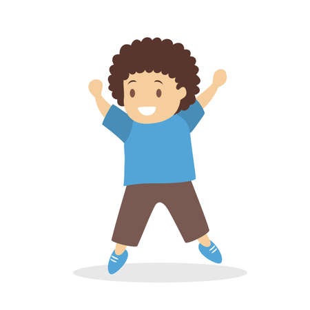 Boy dance. Kid dancing in various style. Childish activity. Flat vector illustration