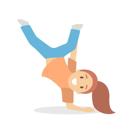 Girl in blue and orange clothes dance. Kid dancing in various style. Childish activity. Flat vector illustration