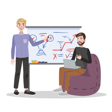 Man making business presentation in front of guy. Presenting business plan on seminar. Training and education. Vector illustration in cartoon style