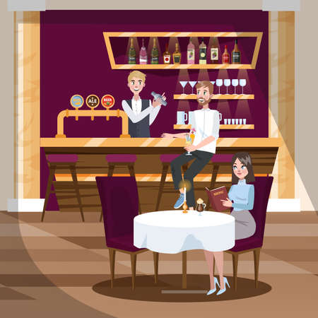Bar or cafe with alcohol drinks. Beer and wine. Pub interior with visitor. Woman reading menu. Vector illustration in cartoon style Illustration