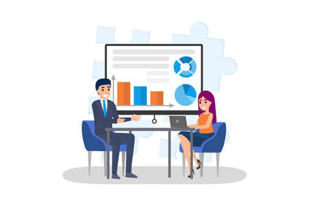 Man making business presentation in front of woman. Presenting business plan on seminar. Training and education. Flat vector illustration
