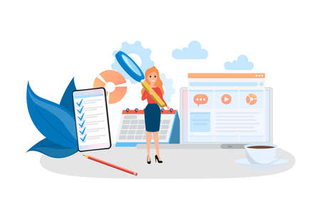 Audit concept. Business data research and analysis. Financial inspection and analytics. Isolated flat vector illustration
