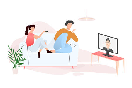 Family couple sitting at home on couch together. Man and woman relax indoors and watch TV. Isolated vector illustration in cartoon style Banque d'images - 124762256