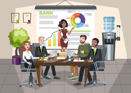 Woman making business presentation in front of group of people. Presenting business plan on seminar. Training and education. Isolated vector illustration in cartoon style. Çizim