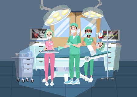 Doctor making surgery in the hospital. Surgeon in uniform operating patient. Assistant with special sterile equipment. Vector illustration in cartoon style