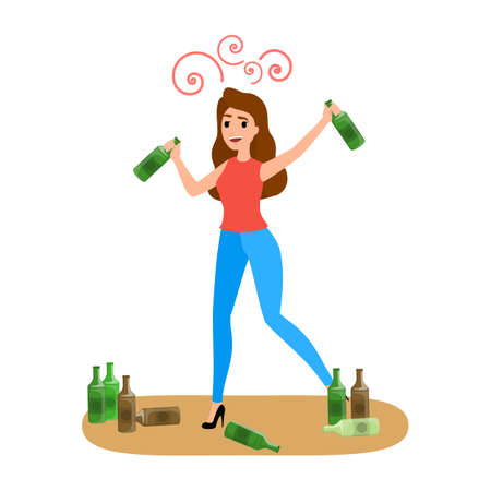 Drunk woman with alcohol addiction with bottle of beer. Female character addict to unhealthy habit. Vector flat illustration Ilustração