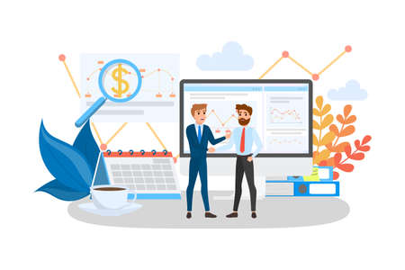 Two people shaking hands. Business deal and partnership. Idea of teamwork and agreement. Isolated vector illustration in cartoon style.