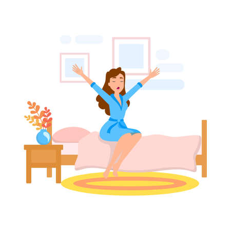 Woman wake up in the morning. Girl Illustration