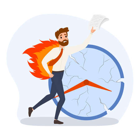 Deadline concept set. Idea of many work and few time. Employee in a hurry. Panic and stress in office. Business problems. Flat vector illustration Stock Illustratie