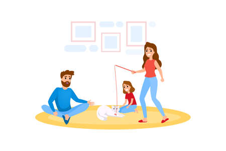 Cute female character play with pet cat. Person have fun with kitten. Family spend time together. Isolated flat vector illustration Ilustração