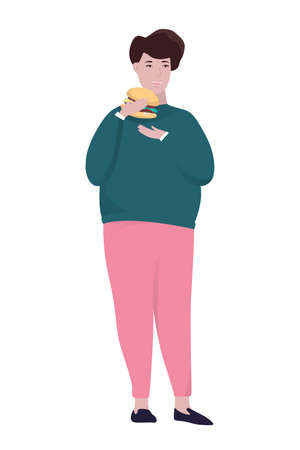 Fat man eating fast food. Unhealthy nutrition concept. Burger for dinner. Junk food addiction. Isolated flat vector illustration
