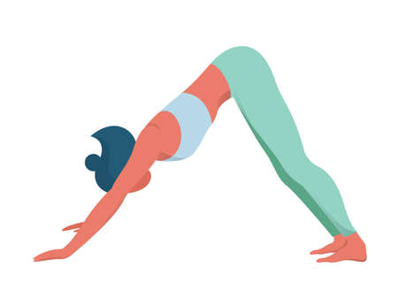 Woman in yoga position. Adho mukha svanasana or downward dog pose. Stretching and relaxation. Idea of active and healthy lifestyle. Vector flat illustration Illustration